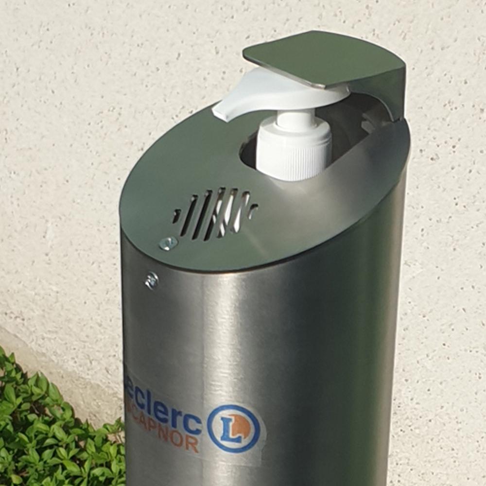 distributeur de gel chez Leclerc